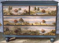 Atelier du bertou peinture sur bois for Peinture decorative meuble bois